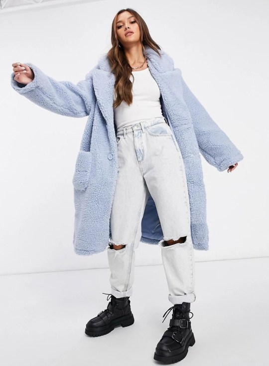 Reclaimed Vintage inspired longline coat in blue borg (Picture: Asos)