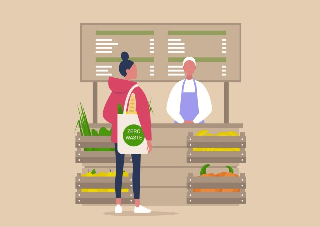 illustration of a woman shopping in a grocery store