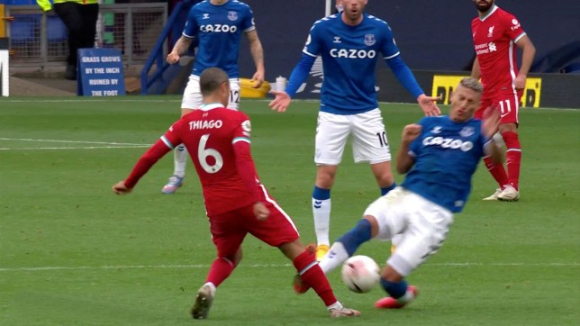 Richarlison was sent off for his knee-high challenge on Thiago Alcantara during Liverpool's 2-2 draw with Everton