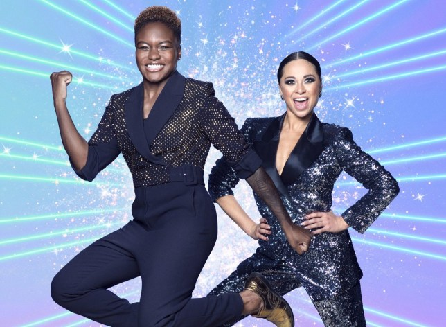 For use in UK, Ireland or Benelux countries only Undated BBC handout photo of Nicola Adams (left) and Katya Jones during the launch show for the BBC1 dancing contest, Strictly Come Dancing. PA Photo. Issue date: Saturday October 17, 2020. See PA story SHOWBIZ Strictly. Photo credit should read: BBC/PA Wire NOTE TO EDITORS: Not for use more than 21 days after issue. You may use this picture without charge only for the purpose of publicising or reporting on current BBC programming, personnel or other BBC output or activity within 21 days of issue. Any use after that time MUST be cleared through BBC Picture Publicity. Please credit the image to the BBC and any named photographer or independent programme maker, as described in the caption.