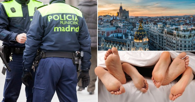 Spanish police broke up a mass orgy as eager crowds queued outside to be filmed having sex on film