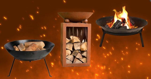Various fire pits on a fiery background