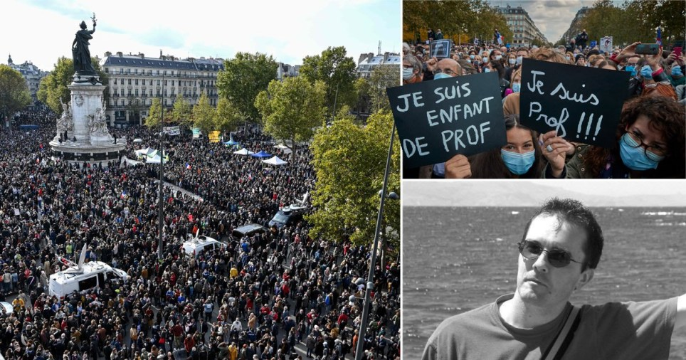 Composition of photographs of teacher who was beheaded in terrorist attack and protests in France paying tribute to him