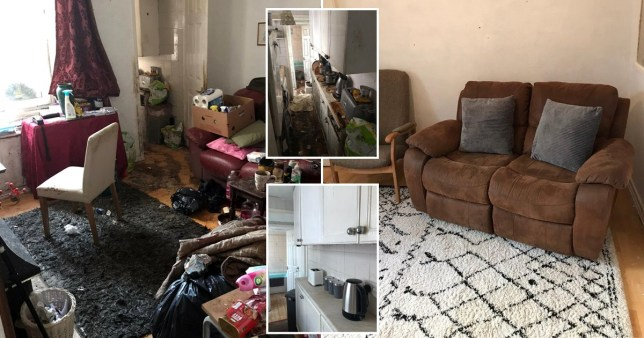 These shocking before and after pictures show the remarkable transformation of a horror house which hadn't been cleaned for years SWNS