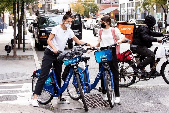 Katie Holmes and Suri Cruise ride Citibikes in NYC