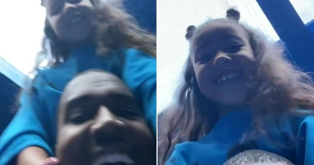 Kanye sings with North on his shoulders Pics: Kanye West/Instagram