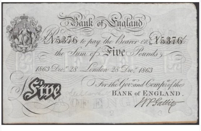 British £5 banknote signed by former chief cashier of the Bank of England, Matthew Marshall, from 28 December. The note is expected to fetch £12,000 at an online auction on October 28, 2020