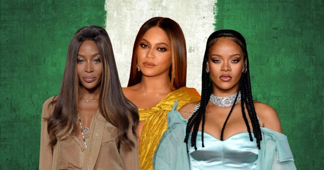 Rihanna, Beyonce, Naomi Campbell with Nigerian flag