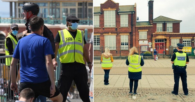 Covid marshals watch over a street outside a primary school alongside a police officer in Great Yarmouth, Norfolk