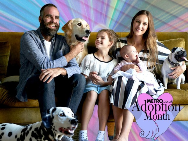Adoption Month comp of a family with pets