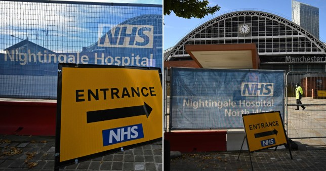Signage is seen outside the NHS Nightingale Hospital North West set up to provide more hospital capacity during the novel coronavirus pandemic at Manchester Central Convention Complex in Manchester, northwest England on October 13, 2020. - The National Health Service (NHS) announced that three field hospitals across northern England, in Manchester, Sunderland and Harrogate, would be mobilised to accept new patients amid rising coronavirus infections. The British government faced renewed pressure on October 13 after indications it had ignored scientific advice three weeks ago for tougher restrictions to cut rising coronavirus infections. (Photo by Oli SCARFF / AFP) (Photo by OLI SCARFF/AFP via Getty Images)