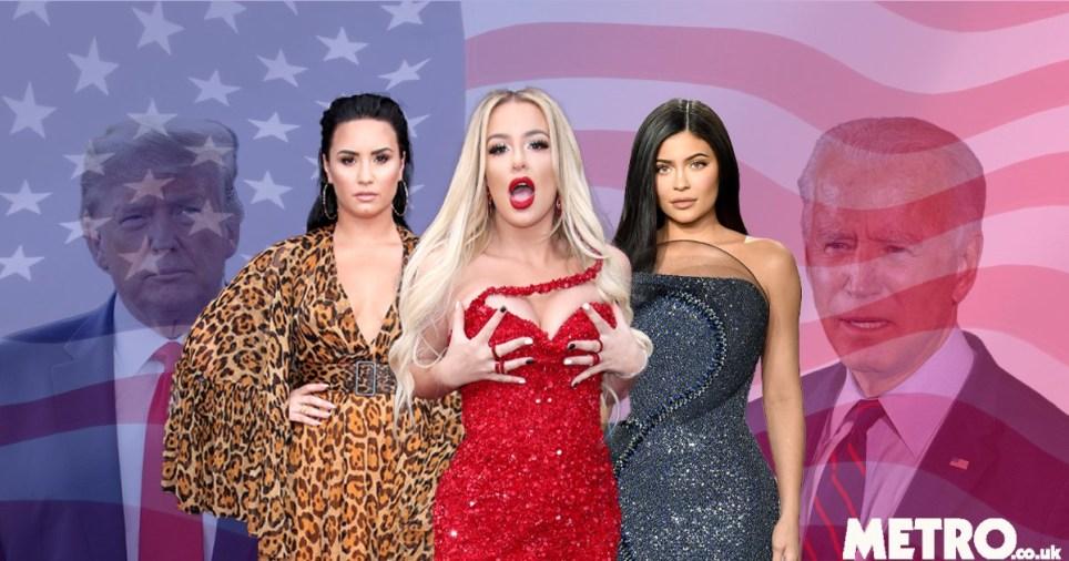 Donald Trump, Demi Lovato, Tana Mongeau, Kylie Jenner, and Joe Biden in front of American flag