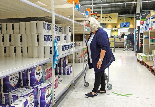 Near empty shelves of toilet paper stock at a supermarket on September 30 in Llandudno, Wales