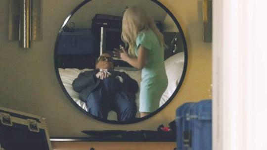 'Borat Subsequent Moviefilm' - Rudy Giuliani in a scene of the movie. Alongside Sacha Baron Cohen & Maria Bakalova.