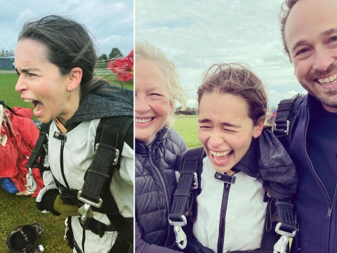 Emilia Clarke jumps out of plane as she celebrates 34th birthday