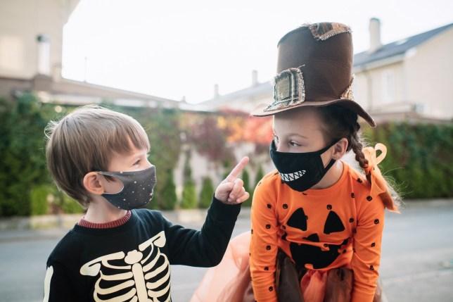 Children wearing Halloween face masks
