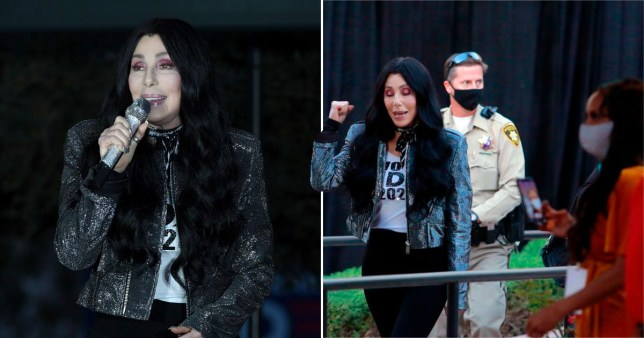Cher campaigning for Joe Biden at presidential rally in Las Vegas