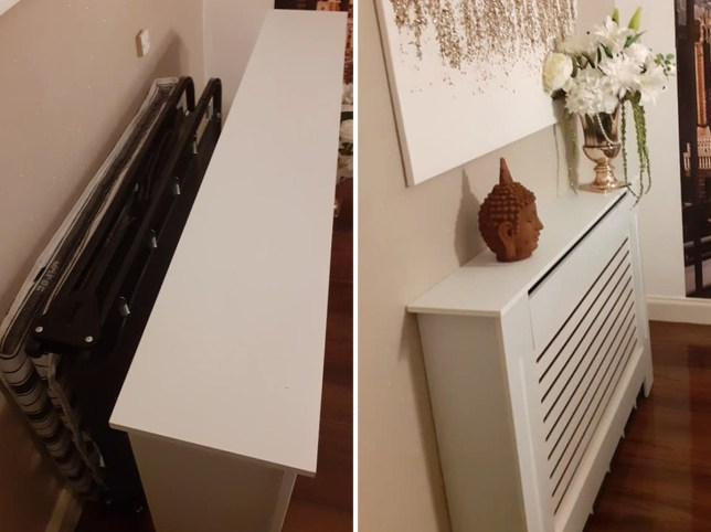 The radiator cover both on and off the guest bed