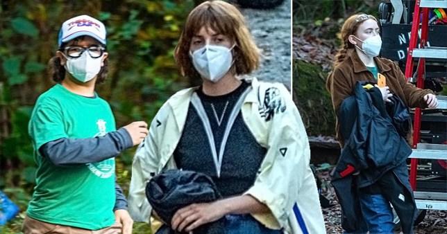 Gaten Matarazzo, Maya Hawke and Sadie Sink on the set of Stranger Things season 4