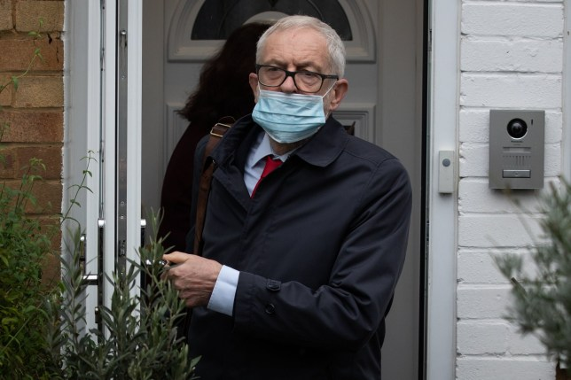 Former Labour leader Jeremy Corbyn leaves his house in North London ahead of the release of an anti-Semitism report by the Equality and Human Rights Commission (EHRC). PA Photo. Picture date: Thursday October 29, 2020. The human rights watchdog launched its landmark probe in May 2019 following persistent allegations of anti-Semitism under former leader Mr Corbyn. See PA story POLITICS Labour. Photo credit should read: Aaron Chown/PA Wire