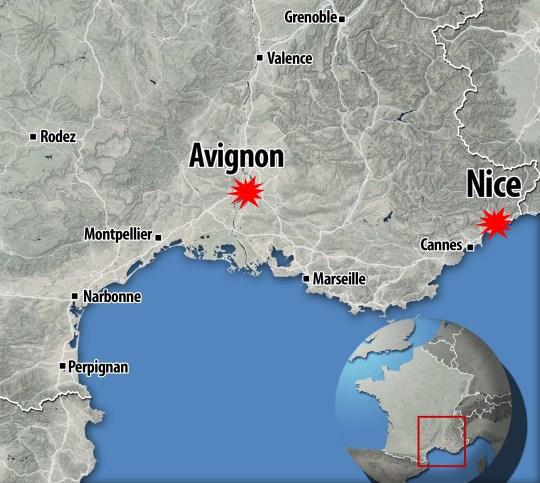 Carte montrant Avignon et Nice, France, après deux attaques au couteau le 29 octobre 2020