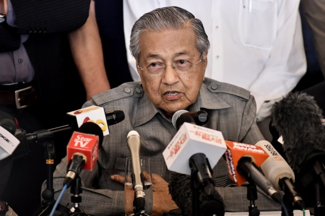 Malaysia Prime Minister, Tun Dr. Mahathir Mohamad speaks to media members during a press conference at Sheraton Hotel in Petaling Jaya, Selangor on May 10, 2018. (Photo by Muhammad Shahrizal/NurPhoto via Getty Images)