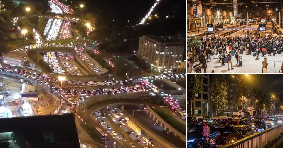 Paris gridlocked as tens of thousands try to leave the city as country goes into 2nd lockdown (Picture: Getty, Rex, EPA)