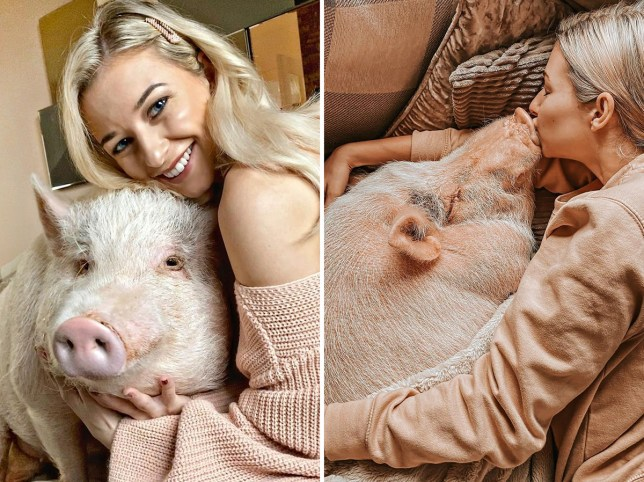 influencer simone with her pig, milo