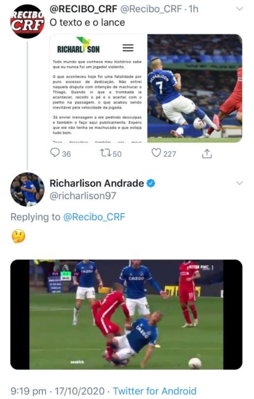 Richarlison appeared to question the severity of his challenge on Thiago Alcantara
