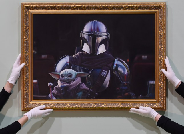 Portrait of The Mandalorian and Baby Yoda