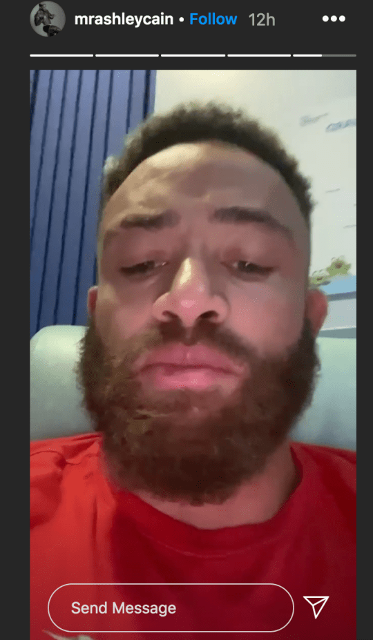 Ashley Cain filming video from hospital ward