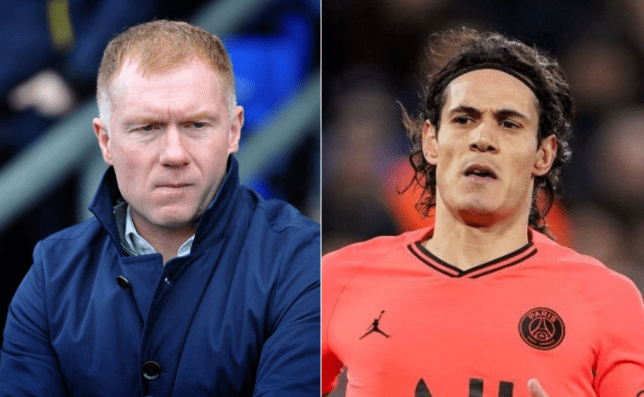 Manchester United legend Paul Scholes and new signing Edinson Cavani look on