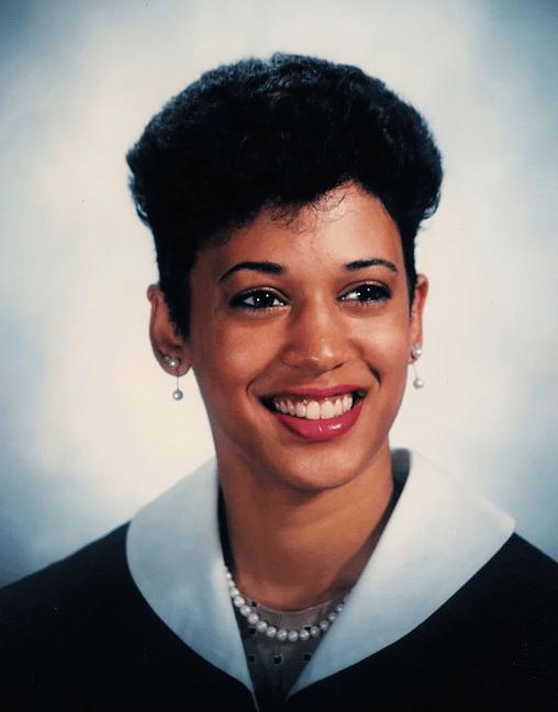 Kamala graduating from Howard University in 1986
