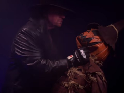 WWE legend The Undertaker attacks a scarecrow on Jimmy Fallon Halloween special