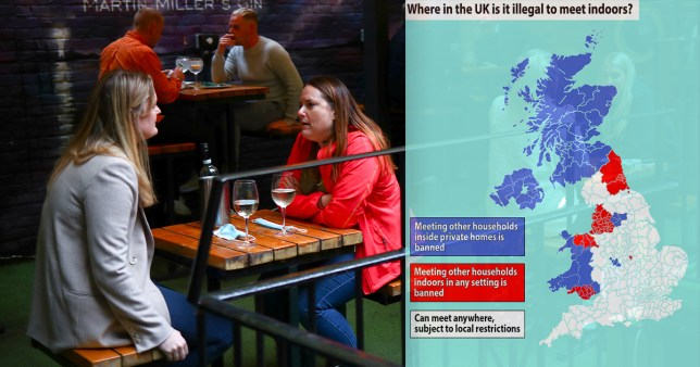 Comp image showing people chatting in a pub on the left hand side, and a map of the UK indicating regional indoor social gathering restrictions on the right.