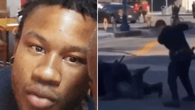 Eugene Martindale III and a shot of video footage of him being beaten by police officers in February in Long Beach, California.