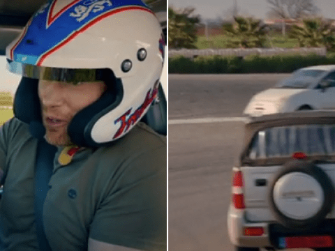 Top Gear's Freddie Flintoff has lucky escape after almost crashing into oncoming traffic while in 40-degree heat