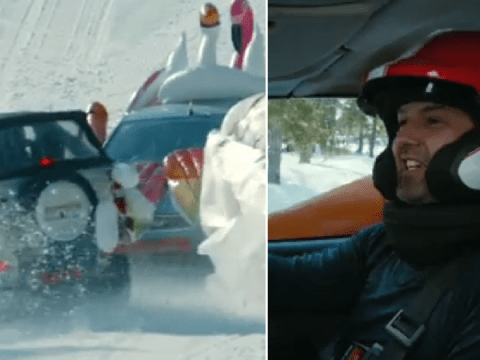 Top Gear's Paddy McGuinness in stitches after crashing into co-hosts during high-speed race on ski slope