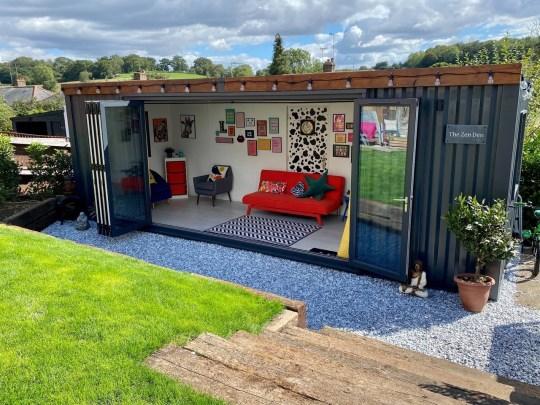 family's summer cabin in the garden