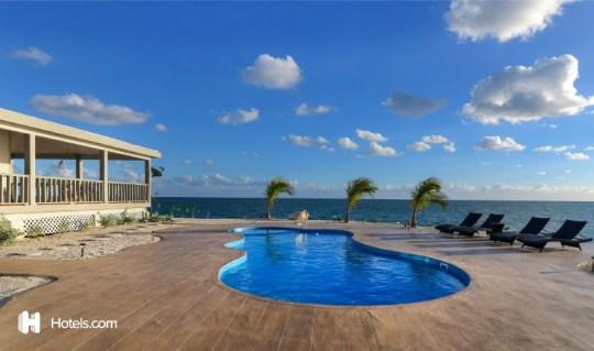 a pool on a private island off the coast of florida