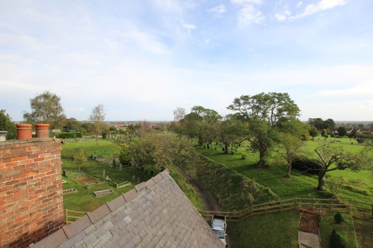 gatehouse with its own turret for sale - the view of lincolnshire countryside from the turret