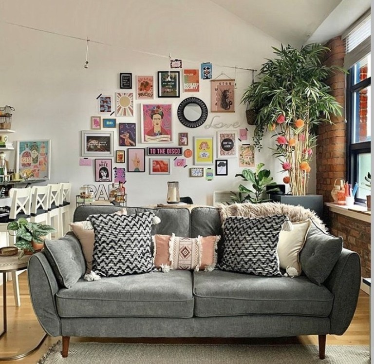 what i rent: Cara and Nat, new islington, manchester - living room with gallery wall