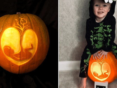 Couple announce they're expecting a child by carving their baby scan into a pumpkin