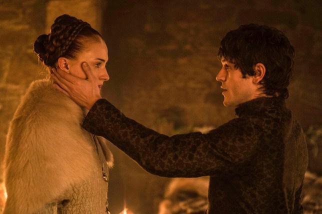 Iwan Rheon and Sophie Turner on Game Of Thrones