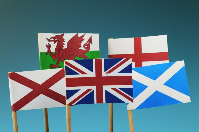 A United kingdom flag and their members as Scotland, England, Nothern Ireland, Wales.