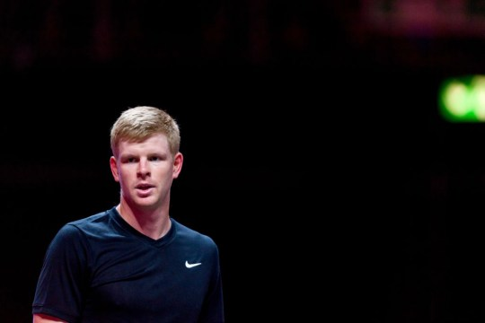 Kyle Edmund of Great Britain looks on during a match against Lloyd Harris on the second day of the Bett1Hulks Indoor tennis tournament at Lanxess Arena on October 13, 2020 in Cologne, Germany