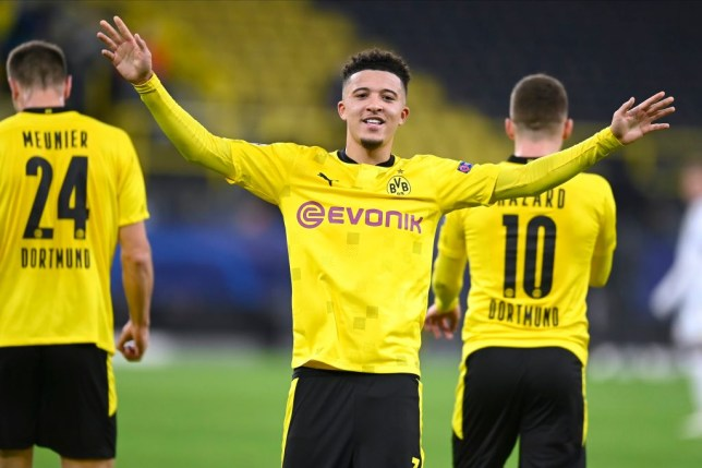 Jadon Sancho celebrates scoring in Borussia Dortmund's Champions League win over Club Brugge