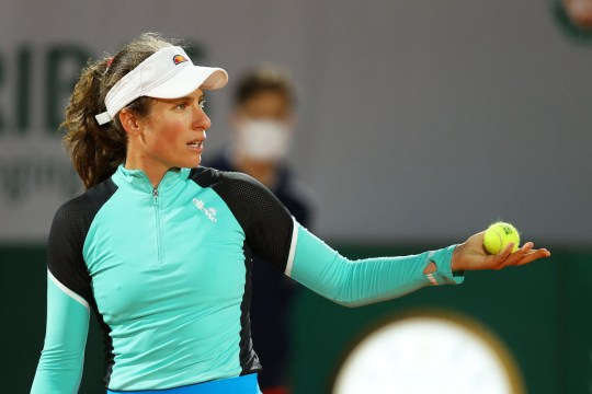 Johanna Konta of Great Britain reacts during her Women's Singles first round match against Cori Gauff of The United States of America during day one of the 2020 French Open at Roland Garros on September 27, 2020 in Paris, France.