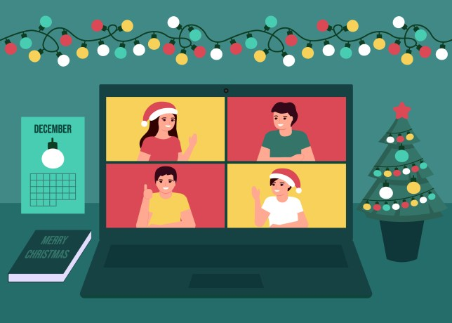 Group people communication online together on Christmas holiday.