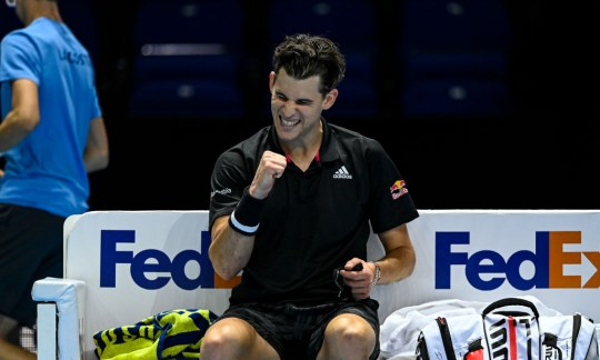 Dominic Thiem of Austria celebrates his victory over Stefanos Tsitsipas of Greece during Day 1 of the Nitto ATP World Tour Finals at The O2 Arena on November 15, 2020 in London, England.